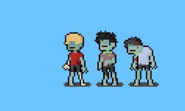 Personagens de zumbis masculinos de desenho animado de pixel art.
