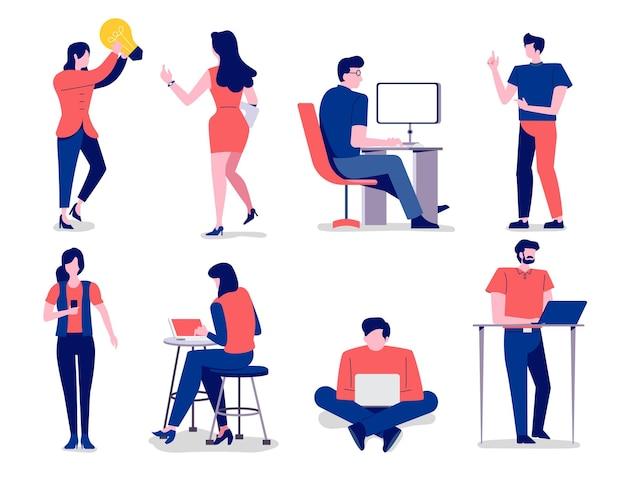 Personagens definem conceito de design plano de negócios várias posturas do trabalhador