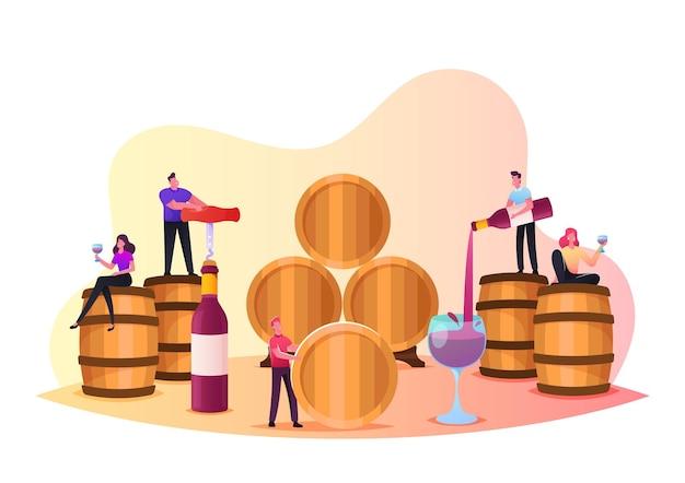 Personagens degustação de vinho no cofre, minúsculos pessoas segurando taças de vinho, degustando bebidas alcoólicas na adega com enormes barris. experiência profissional em recursos de bebidas de elite. ilustração em vetor de desenho animado