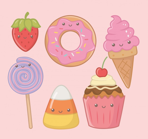 Personagens deliciosos e doces kawaii