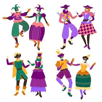 Personagens desenhados à mão usando fantasias de carnaval italiano