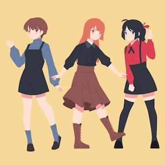 Personagens detalhados de anime feminino