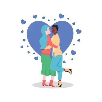 Personagens detalhados de cor feliz casal de lésbicas. mulheres se abraçando.