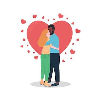 Personagens detalhados de cor feliz casal inter-racial. namorado abraçando a namorada sorridente.