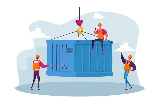 Personagens dianteiros no porto marítimo carregando caixa de contêiner de navio de carga isolado
