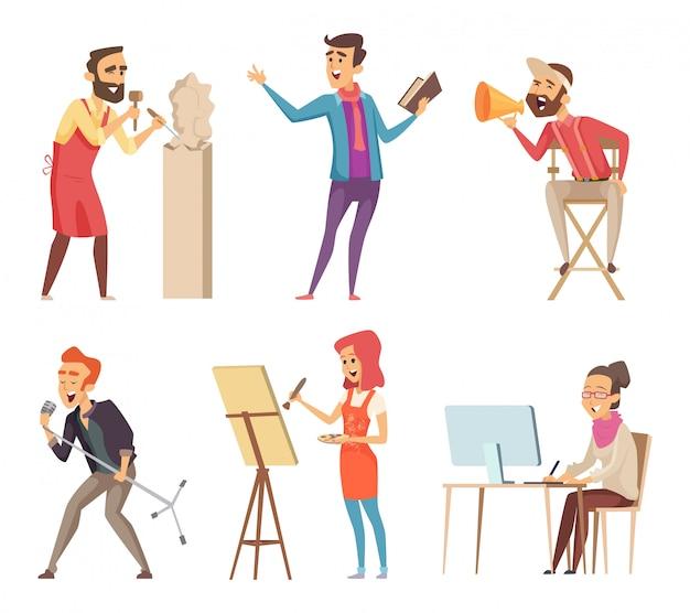 Personagens diferentes de profissões criativas. fotos de vetor em estilo cartoon