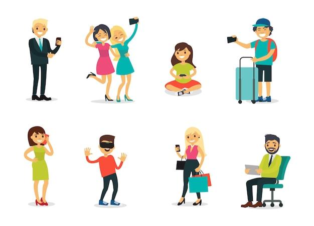 Personagens diferentes e conjunto de tecnologia moderna