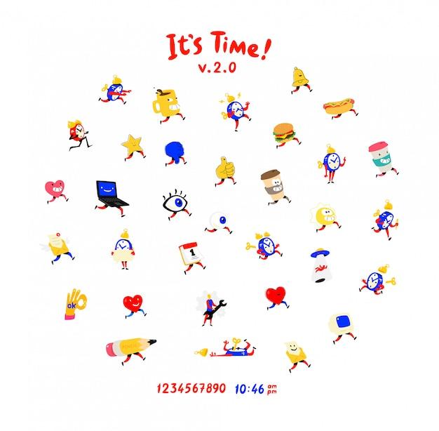 Personagens divertidos e amigáveis. vetor. ícones para relógios, despertadores, canecas, olhos e corações para redes sociais.