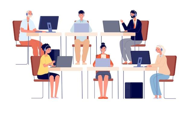 Personagens do call center. contate o serviço, sorrindo agente telefônico com fone de ouvido. operador de escritório da empresa, ilustração vetorial de linha direta do cliente. operadora de telefone, suporte e atendimento ao cliente