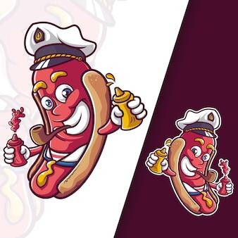 Personagens do capitão mascote da salsicha hotdog