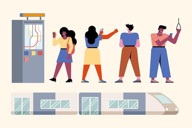 Personagens do cenário de pessoas e metrô
