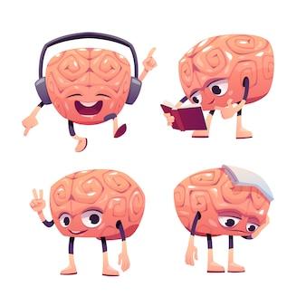 Personagens do cérebro, mascote dos desenhos animados com cara engraçada