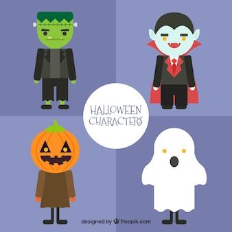 Personagens do dia das bruxas em um design plano