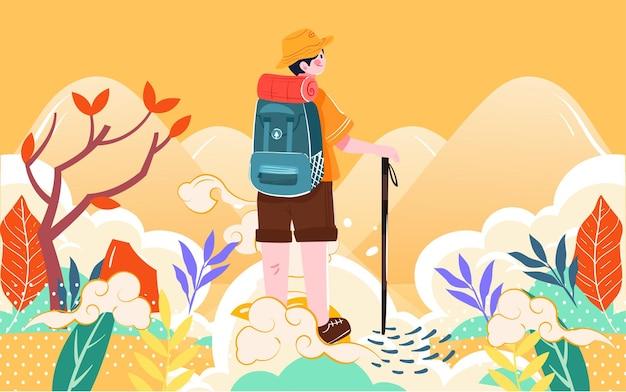 Personagens do double ninth festival climbing mountain climbing ilustração autumn outing caminhada