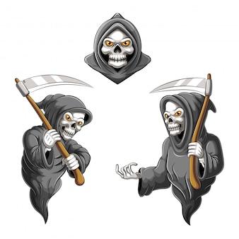 Personagens do esqueleto da morte com e sem foice, adequados para o halloween