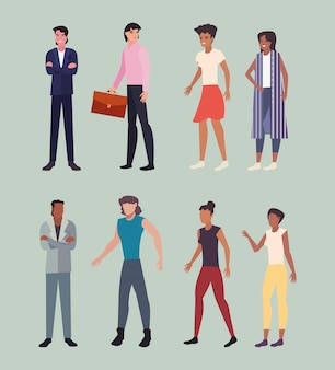 Personagens do grupo de pessoas do sexo masculino e feminino