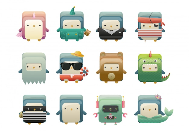 Personagens do jogo pinguim