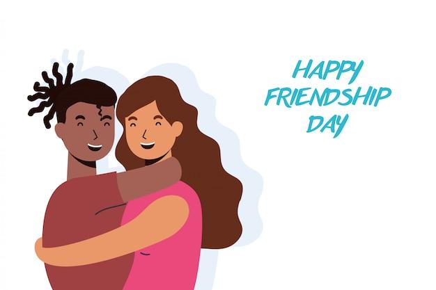 Personagens do jovem casal interracial na celebração do dia da amizade