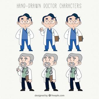 Personagens do médico com estilo desenhado a mão