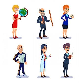 Personagens do professor em vários assuntos no trabalho.