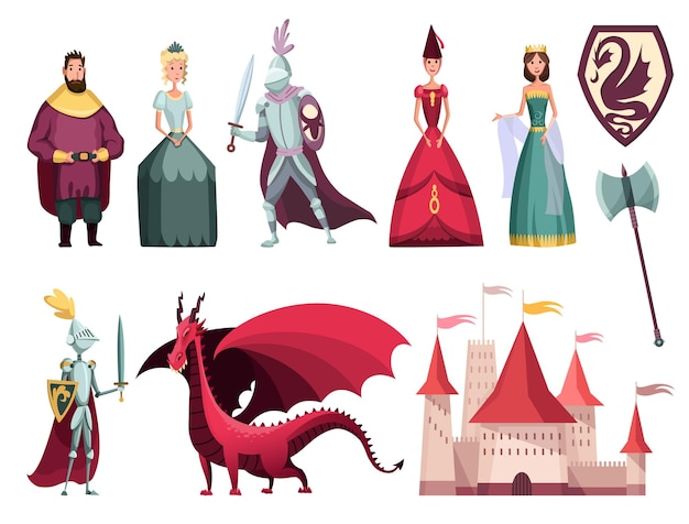 Personagens do reino medieval 2 conjuntos planos horizontais com cavaleiro rei rainha cavaleiro castelo fortaleza dragão