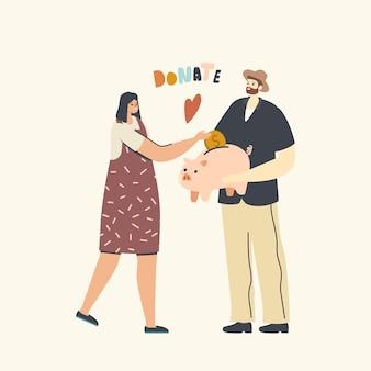 Personagens doam dinheiro em cofrinho ilustração homem e mulher caridade, ajuda social, apoio de doação, serviço de patrocínio voluntário, equipe humanitária de voluntariado