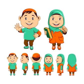 Personagens duas adoráveis crianças muçulmanas