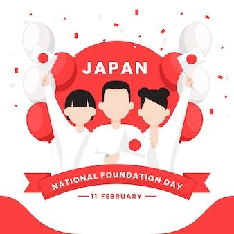 Personagens e balões do dia da fundação nacional do japão