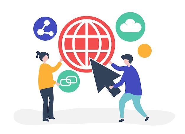 Personagens e ilustração do conceito de comunicação global