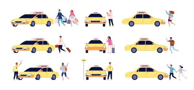 Personagens e táxi. passageiros de carro de pessoa e motorista de táxi em pé perto de conjunto plano de serviço de táxi de carro.