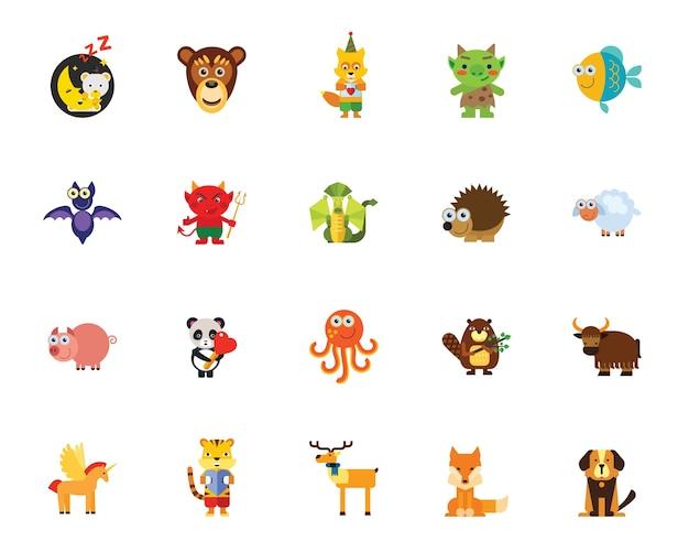 Personagens em conjunto de ícones de contos de fadas