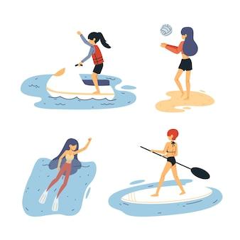 Personagens em diferentes cenas fazendo esporte