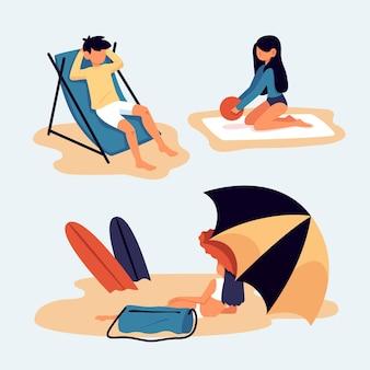 Personagens em diferentes cenas na praia