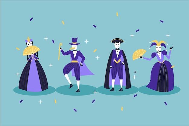 Personagens em fantasias de carnaval com confete