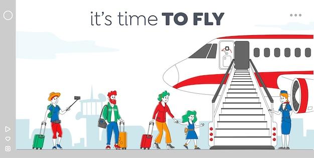 Personagens embarcando em modelo de página de destino de avião