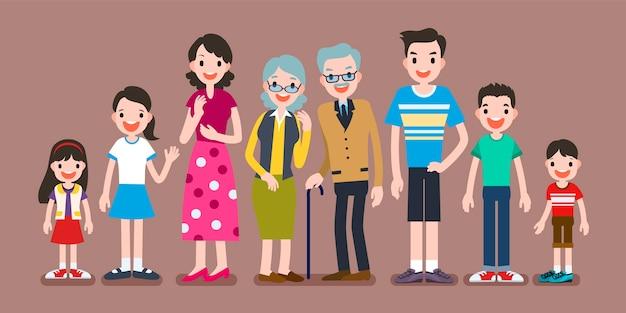 Personagens encantadores da família, conjunto de membros de uma grande família em