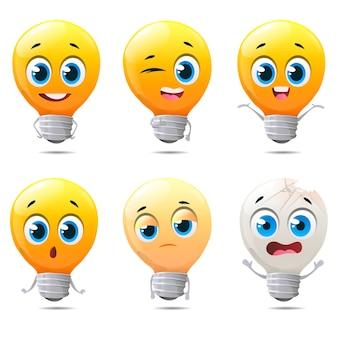 Personagens engraçados com lâmpadas de desenho animado