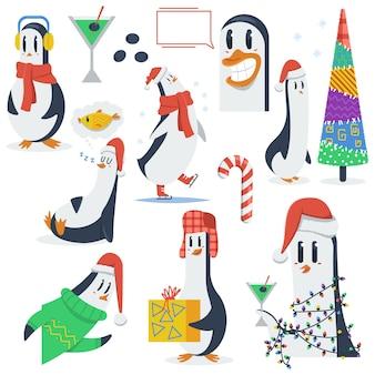 Personagens engraçados de desenhos animados de vetor de pinguins de natal isolados em um branco