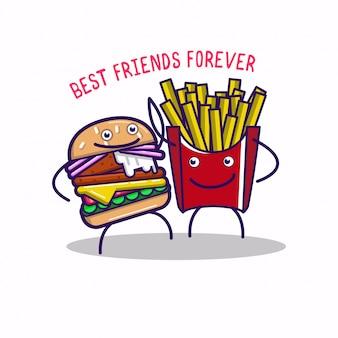 Personagens engraçados de fastfood melhores amigos para sempre