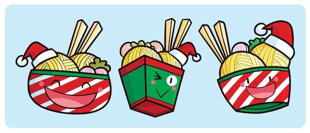 Personagens engraçados de macarrão de natal em estilo cartoon