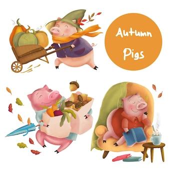 Personagens engraçados de porcos de outono
