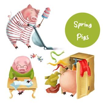 Personagens engraçados de porcos de primavera