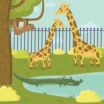 Personagens engraçados de preguiça, girafa e crocodilo no parque zoológico.