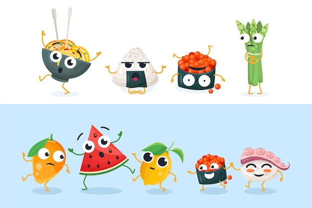 Personagens engraçados de sushi e frutas - conjunto de ilustrações vetoriais isoladas em fundo branco e azul. coleção de emoticons de desenhos animados de alta qualidade mostrando diferentes emoções e expressões faciais