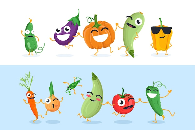 Personagens engraçados de vegetais - conjunto de ilustrações vetoriais isoladas em fundo branco e azul. pepino bonito, berinjela, abóbora, cebola, tomate, ervilhas. coleção de emoticons de desenhos animados de alta qualidade
