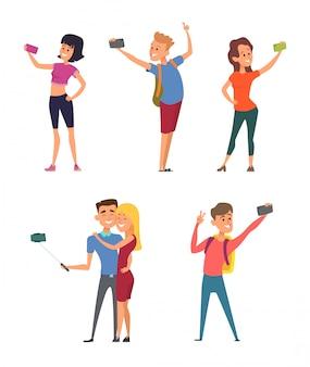 Personagens engraçados diferentes fazem selfie em seus smartphones
