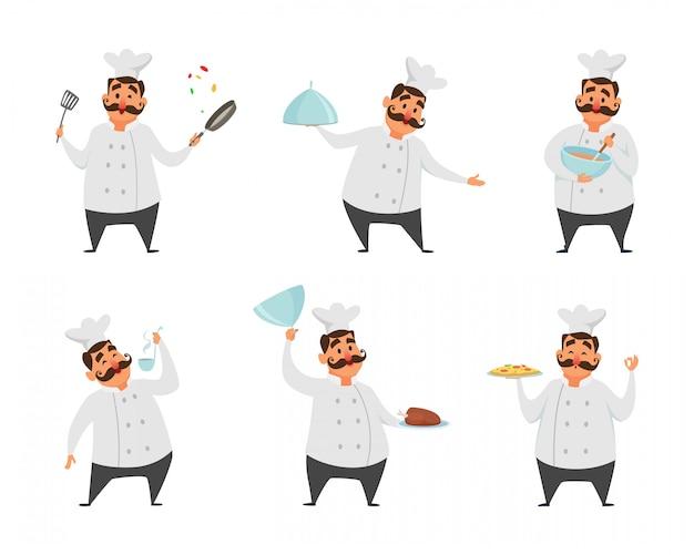 Personagens engraçados do chef em poses de ação