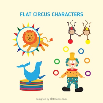 Personagens engraçados e animais de circo
