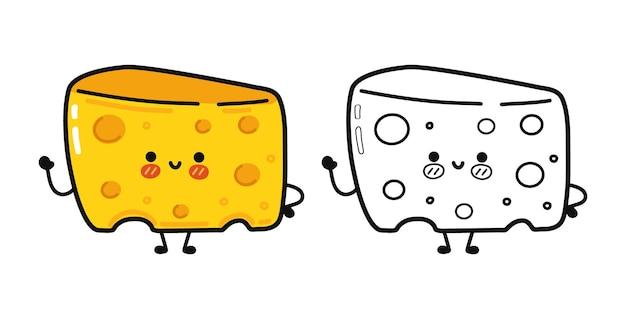 Personagens engraçados e fofos de queijo feliz agrupam conjunto de contorno de desenho animado para livro de colorir