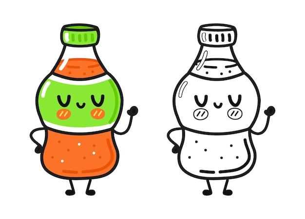 Personagens engraçados e fofos de refrigerante feliz esboçam a ilustração dos desenhos animados para livro de colorir